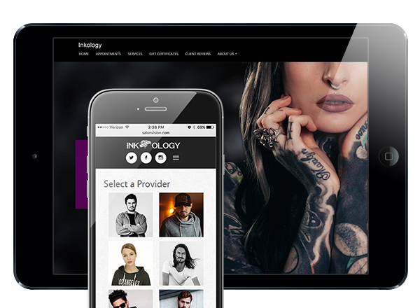 photo of iphone with example of tattoo studio custom website and ipad with example of tattoo studio custom website